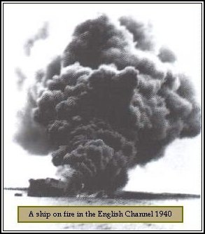 Photo: A ship on fire in the English Channel - 1940